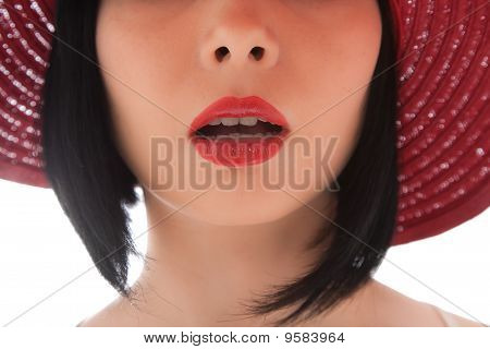 Sexy Woman's Lips Isolated On White
