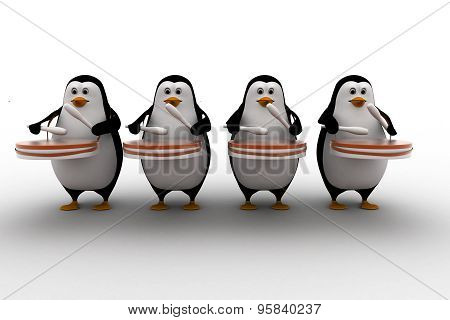 3D Group Of Penguins Play Drum For Celebration Or Pared Concept