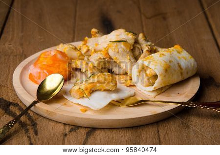 Scrambled Fried Meat And Eggs