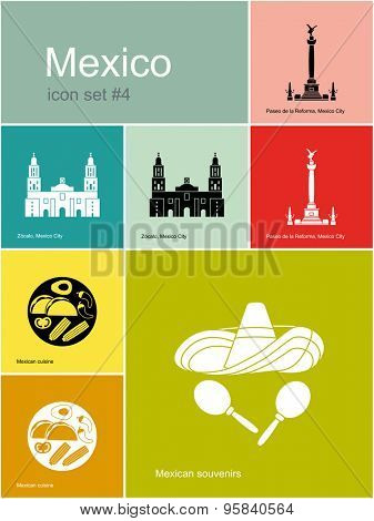 Landmarks of Mexico. Set of color icons in Metro style. Raster illustration.