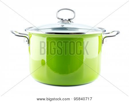 Green enamel pot with lid shot on white