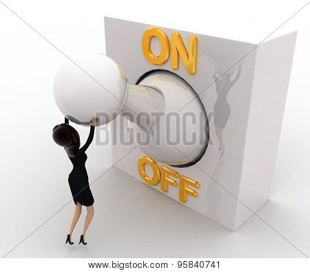 3D Woman With Big On Off Lever Switch Concept