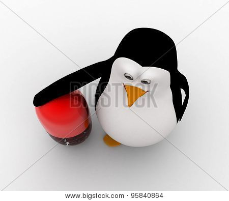 3D Penguin With Big Capsule Concept