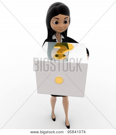 3D Woman With Big Golden Dice Concept