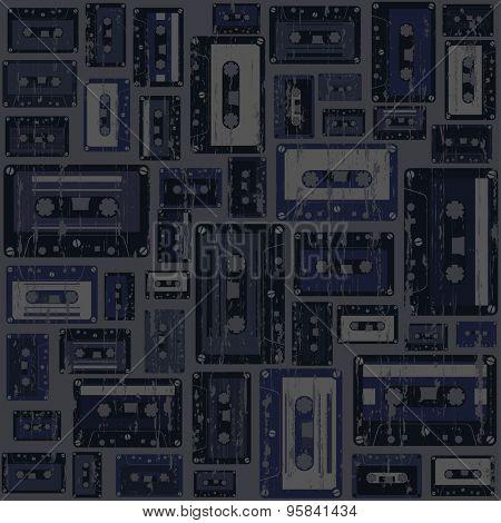 Cassette tape grunge seamless pattern
