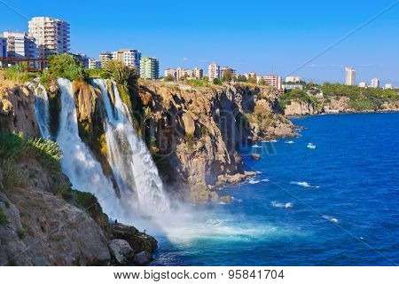 Waterfall Duden at Antalya, Turkey - nature travel background