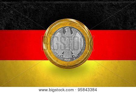 One Euro Coin flag in a coin