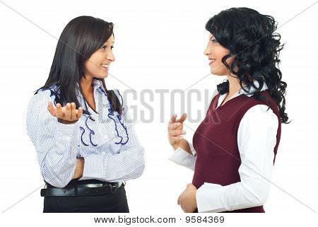Business Women Having A Happy Discussion
