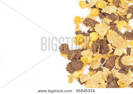 Close Up Cereal On White Background, Copy Space