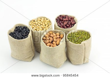 Different Kinds Of Beans In Sacks Bag Isolated On White Background