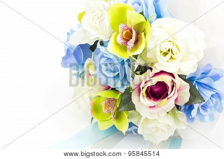 Artificial Flowers On White Background