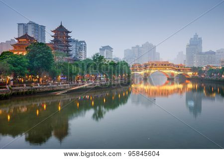 Chengdu, Sichuan, China at Anshun Bridge.