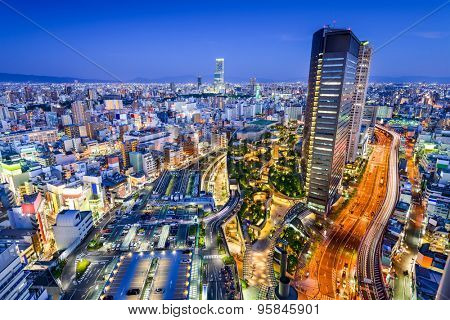 Osaka, Japan city skyline overlooking Namba District.