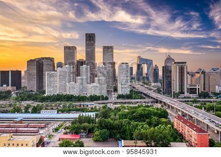 Beijing, China financial district at dusk.