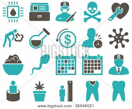 Medical Bicolor Flat Icon Set