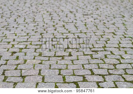 Cobblestone Pavement With Grass Growth Between Stones, Blurred Background