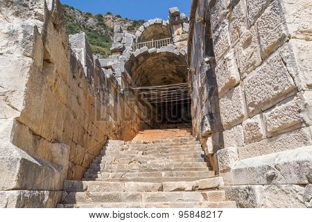 The ruins of the ancient amphitheater in Myra, Turkey