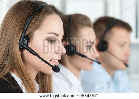 Smiling Customer Support Operator At Work