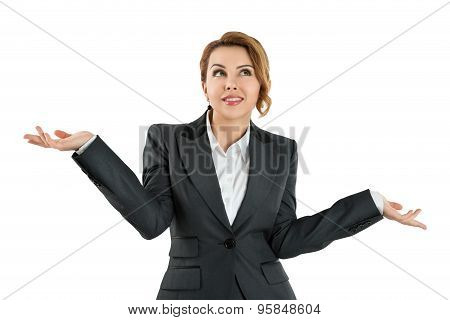 Business Woman Holding Her Hands Out Saying That She Does Not Know