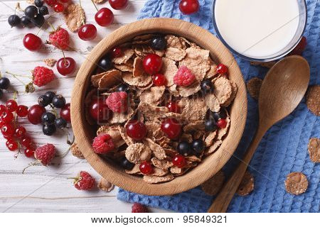 Muesli With Fresh Berries And Milk On The Table. Horizontal Top View