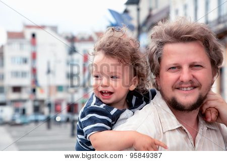Boy Laughing With Daddy