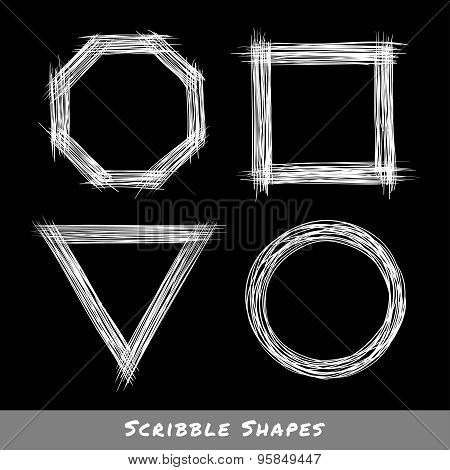 Set of White Hand Drawn Scribble Shapes