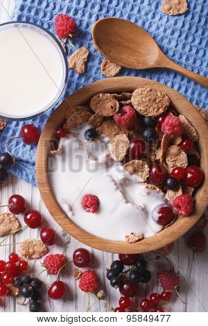 Muesli With Milk And Fresh Berries Close Up Vertical Top View