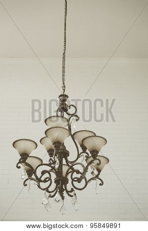 Beautiful crystal chandelier ( Filtered image processed vintage effect. )