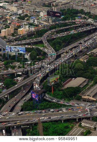 aerial view on highway overpass