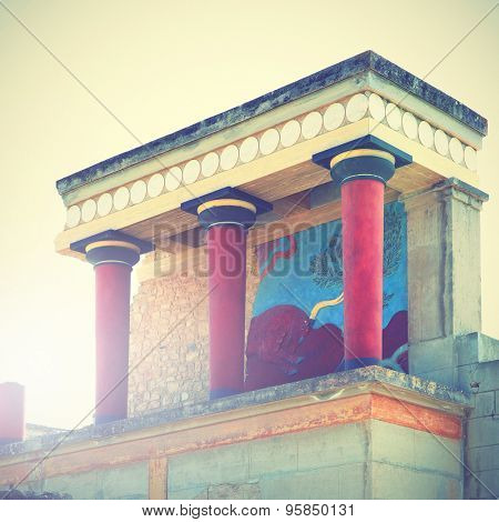 Ruins of The Knossos Palace, Crete, Greece. Retro style filtred image