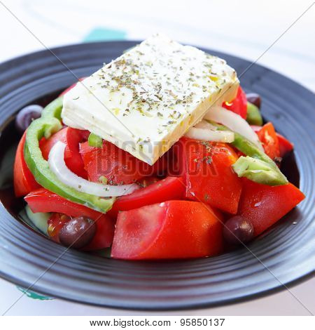 Greek salad with feta cheese, tomatoes and olives Stock Photo & Stock ...