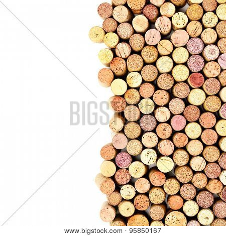 Butt ends of wine corks with white space for your own text