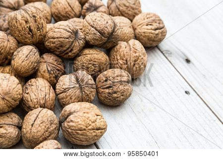 Whole raw walnuts in shell