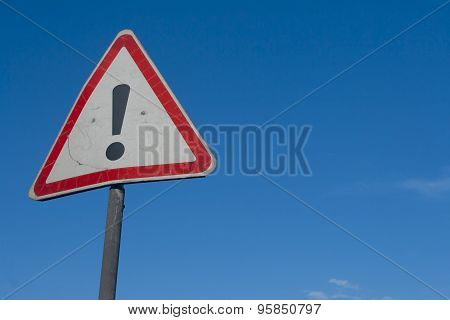 Warning sign with exclamation point