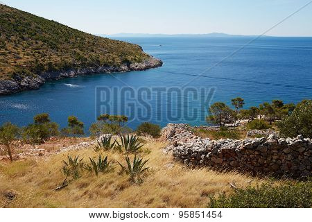 The Bay In The Adriatic Sea On The Island Of Hvar