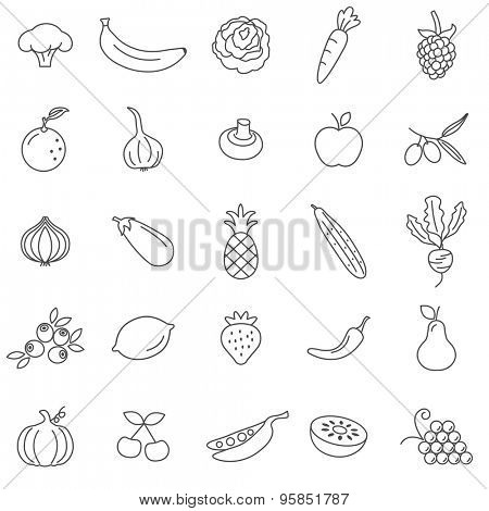 Fruit and vegetables line icons set.Vector