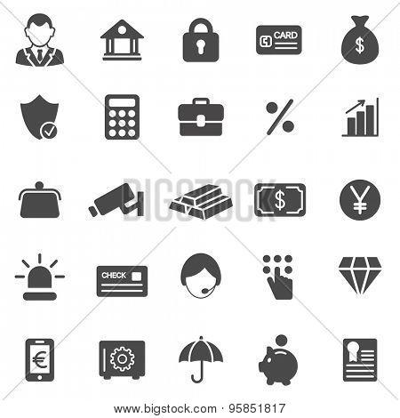 Bank black icons set.Vector