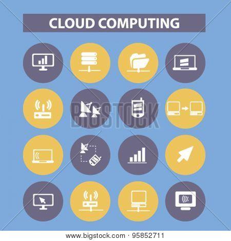cloud computing, server, computer icons, signs, illustrations set, vector