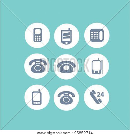 phone, communication, mobile icons, signs, illustrations set, vector