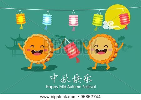 Vector Mooncakes cartoon character of Mid Autumn Festival. Chinese text means Happy Mid Autumn Festival.