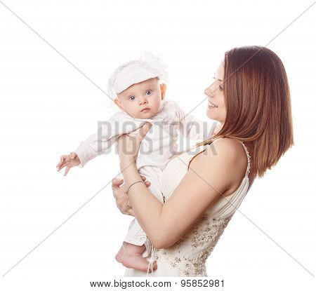 Mother Holds Her Firstborn In Her Arms. Isolated.