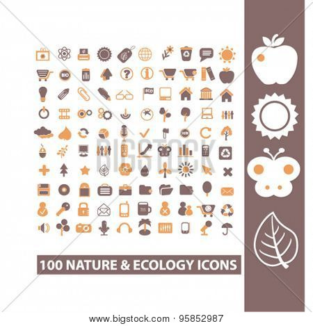 100 nature, ecology, environment icons, signs, illustrations set, vector