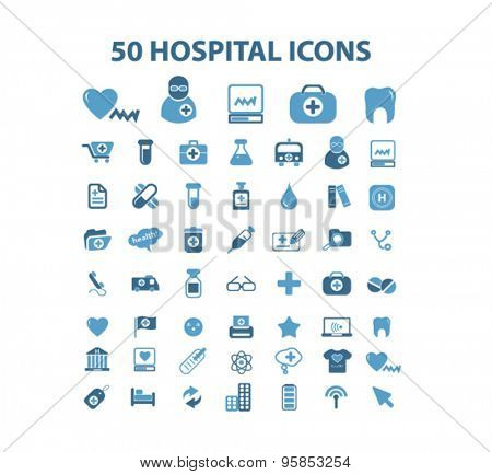 hospital, medicine, medical health care icons, signs, illustrations set, vector