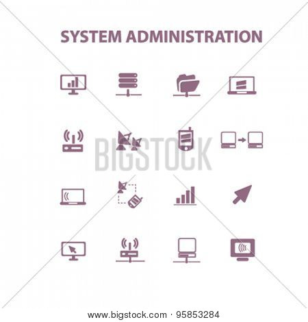 system administration, connection icons, signs, illustrations set, vector