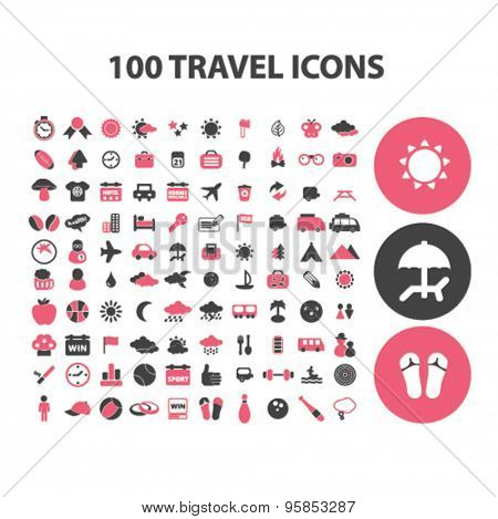 100 travel, recreation, tourism, summer vacation icons, signs, illustrations set, vector