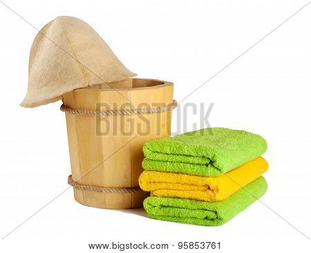 Wooden Bucket With Ladle For The Sauna