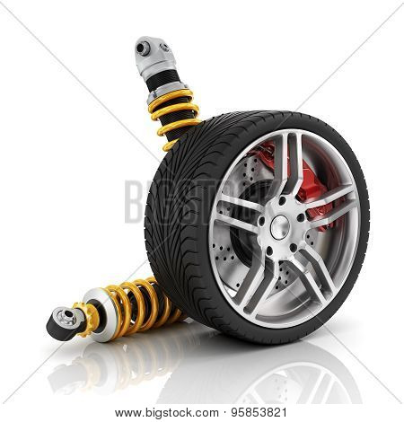 Car wheel with brakes absorbers tires and rims on the white background.