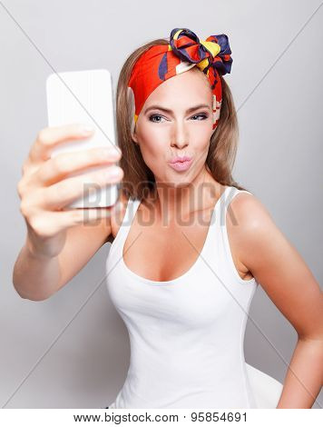 Pretty Woman Taking A Selfie
