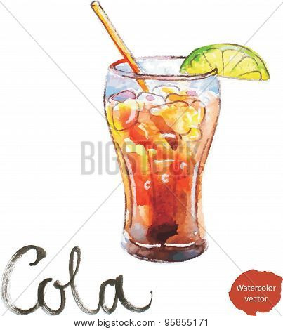 Watercolor Cola With Lime
