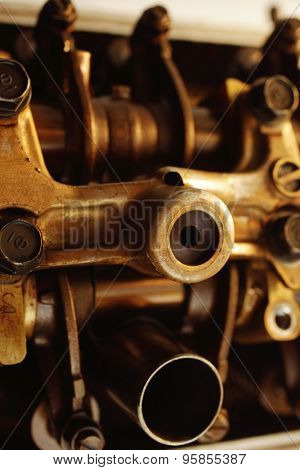 real used car motor engine part isolated on white background